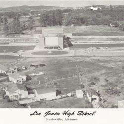 Aerial photo of the original Lee Junior High School in the late 1950's.