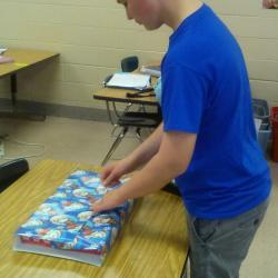 Peer Helpers wrapping presents