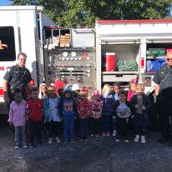 Ms. Thomas' K class gets a visit from the firetruck