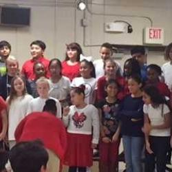 Fifth grade choir gets ready to sing