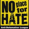 View No Place for Hate anti-defamation organization for high schools logo yellow background black block style text