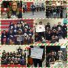 Collage consisting of 8 pictures of the Farley Robotics Team competition and their coach Mattie Hill with coach award. Pictures