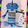 Aquamarine Team Logo.  The logo consists of a blue robot with the words Aquamarine Team on it.