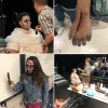 View A collage of students getting their makeup done to look like vampires.