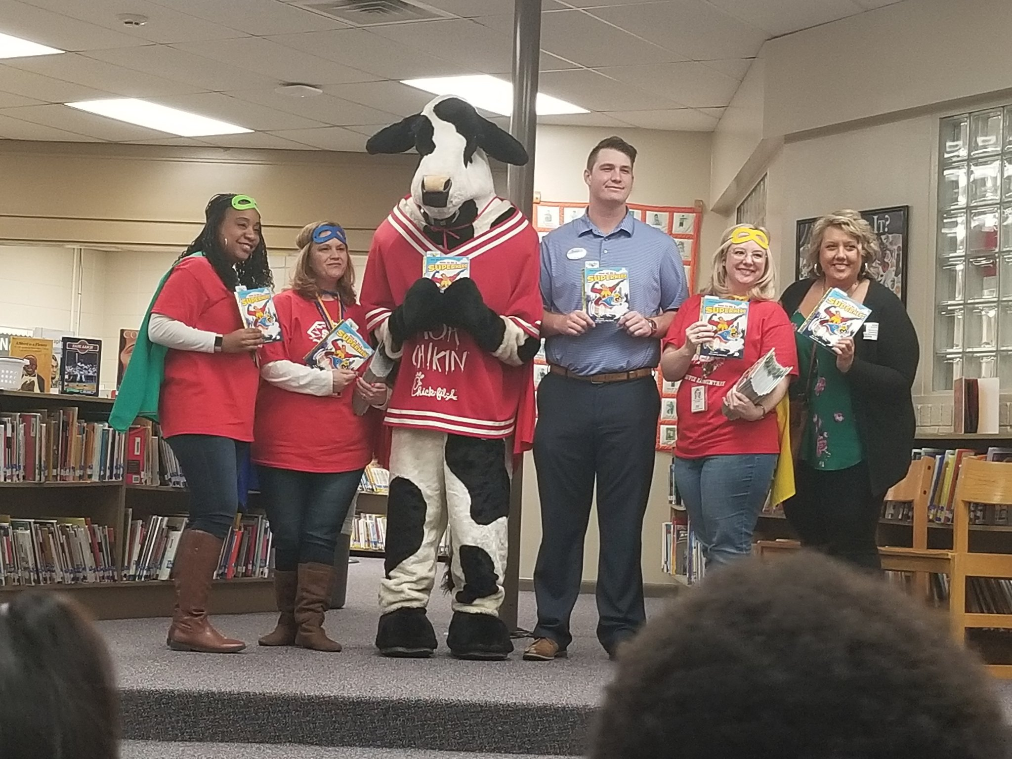 Chaffee first grade teachers with Chickfila cow