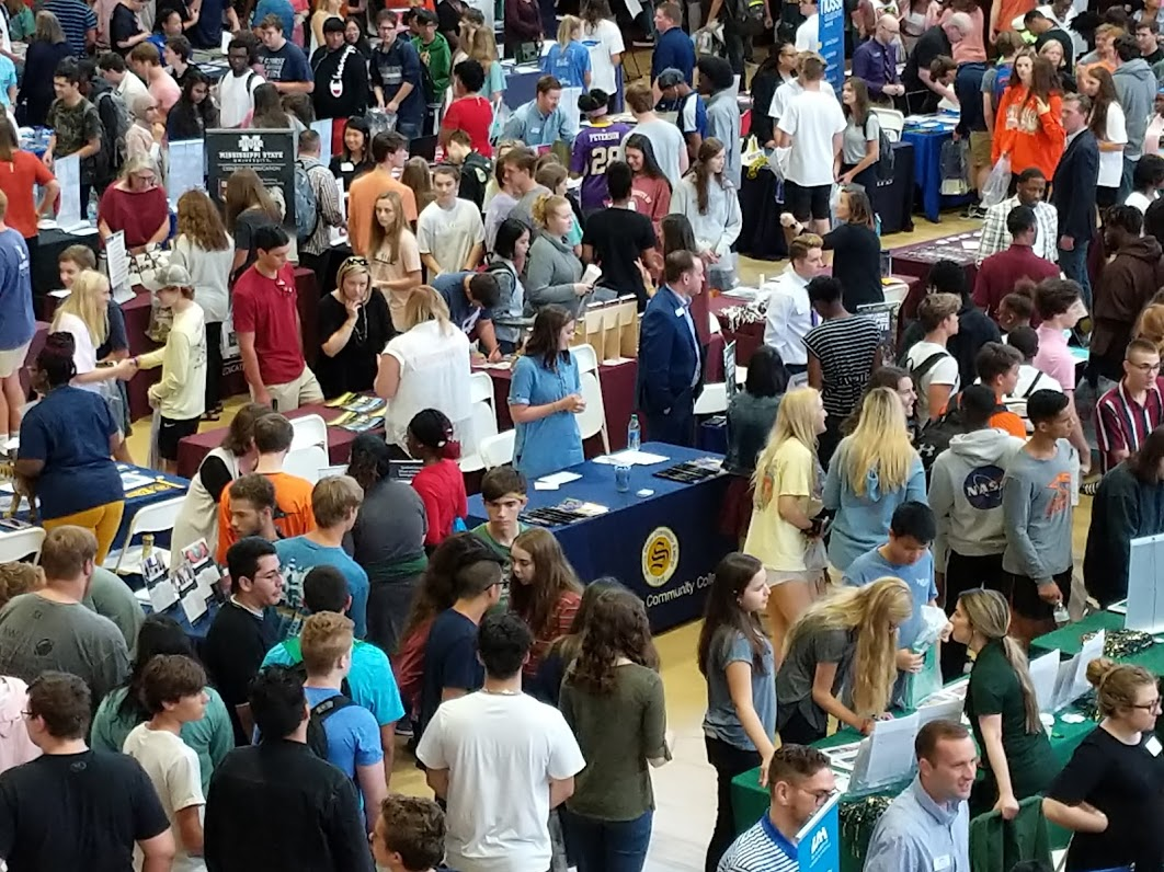 Crowd of students, teachers, parents, and college & career representatives at the 2019 College & Career Expo