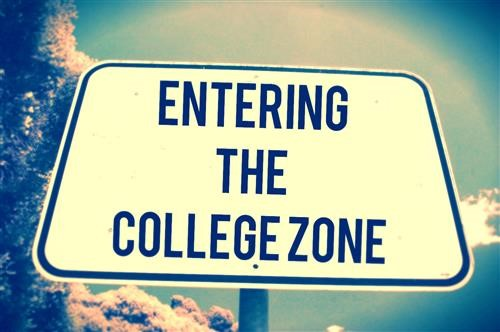 """Road sign stating """"Entering the College Zone"""""""