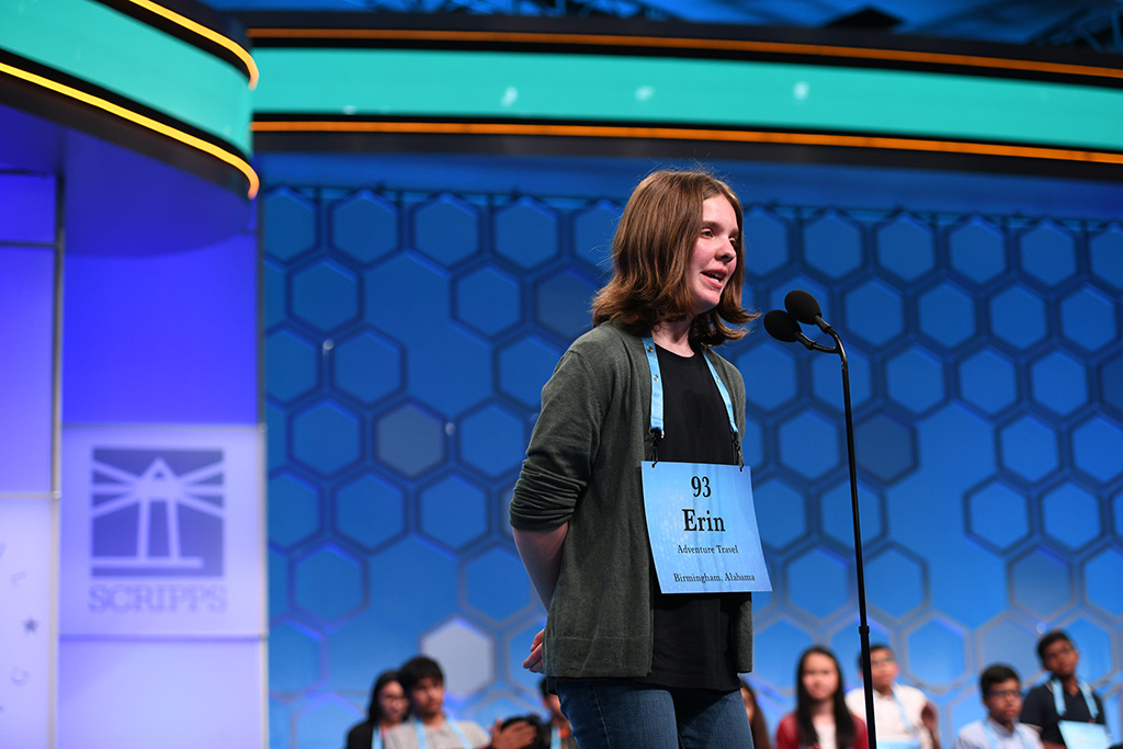 Erin spelling at the 2019 Scripps National Spelling Bee