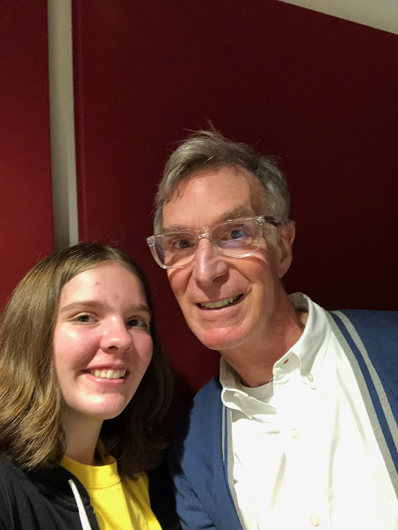 "Erin Howard with Bill Nye the ""Science Guy"""