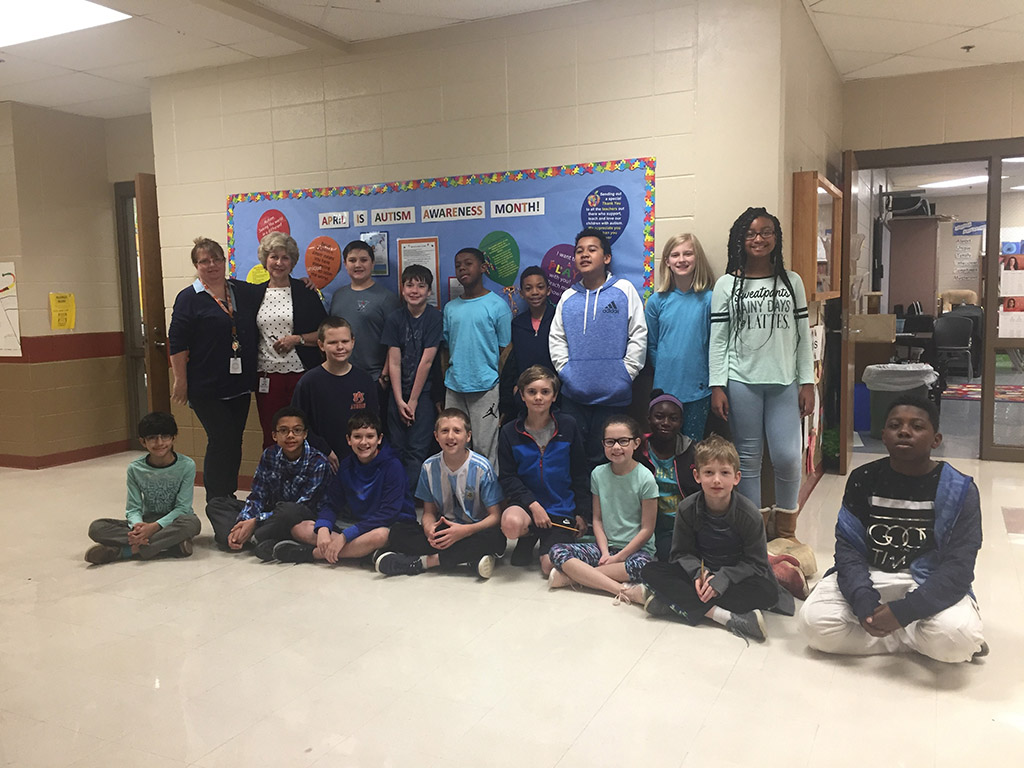 "Another class at Jones Valley Elementary shows their ""blue"" participation in Autism Awareness Day"