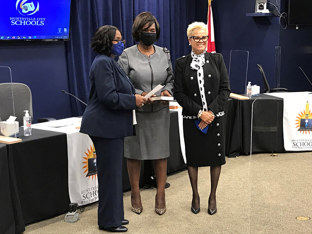 Michelle Watkins being sworn in at the November 2nd Special-Called Meeting