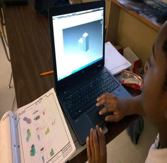 Student working on PLTW Computer