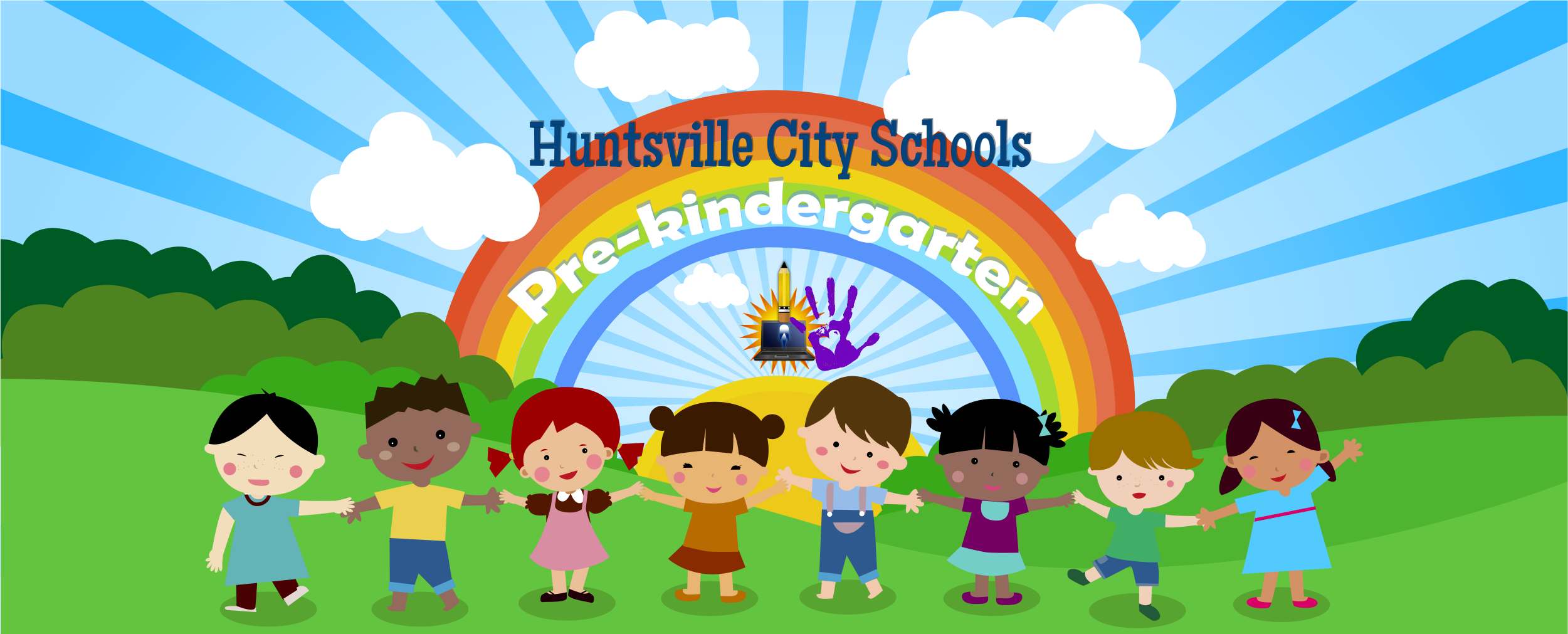 Students holding hands in front of a rainbow, HCS Pre-Kindergarten Text