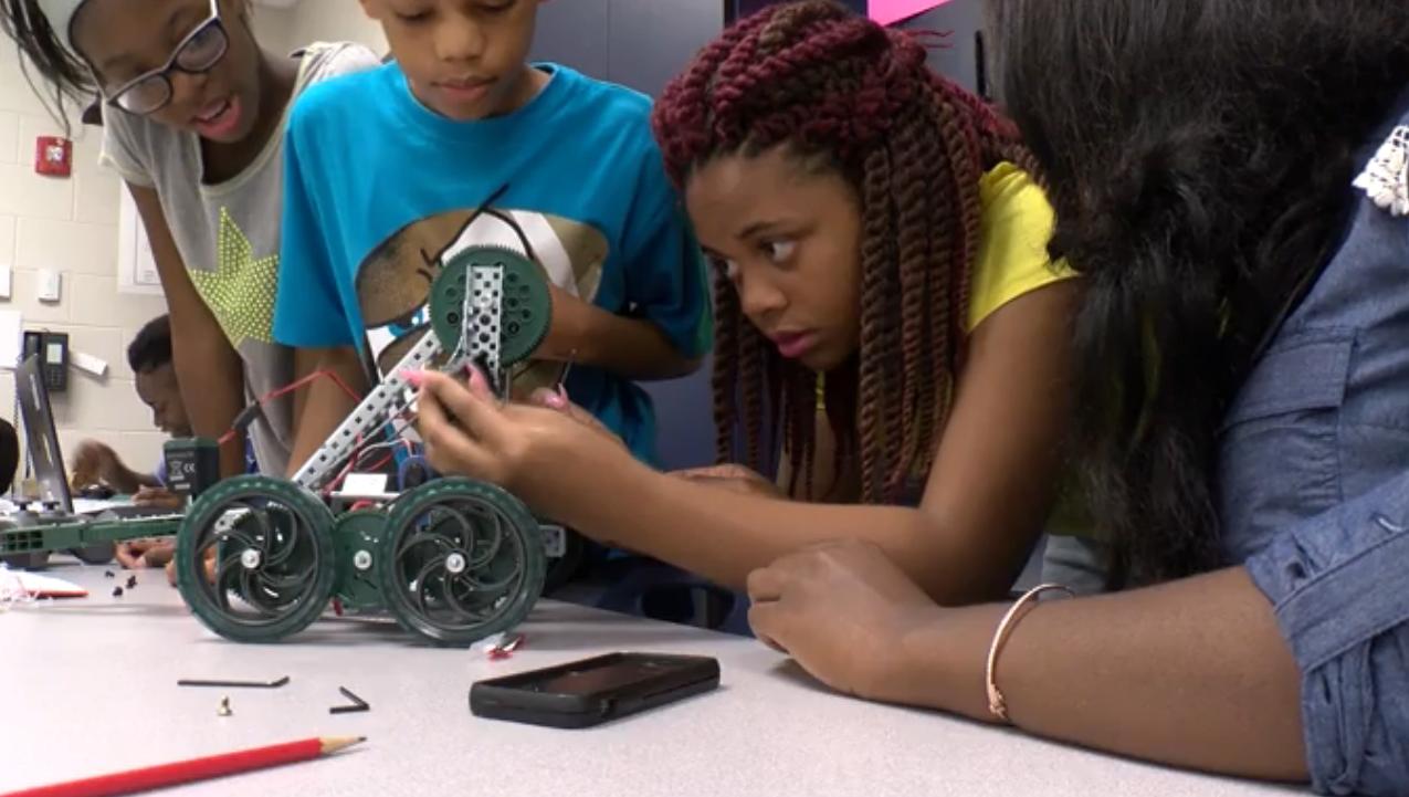 Students Enjoying Robotics Camp