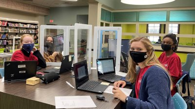 HHS Cyberpatriot Girls Team at the CyberPatriot competition