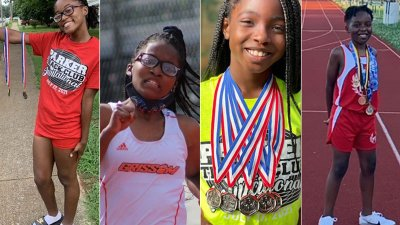 Collage of four 2021 AAU Jr Olympics participants