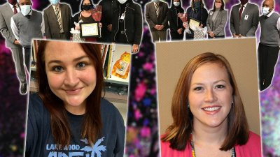 Composite of Angela Smith, Kierstan Bell, and both receiving teacher of the year award with district leadership