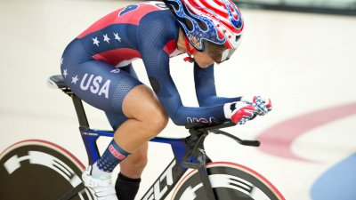 Paralympic Cyclist riding on her bicycle