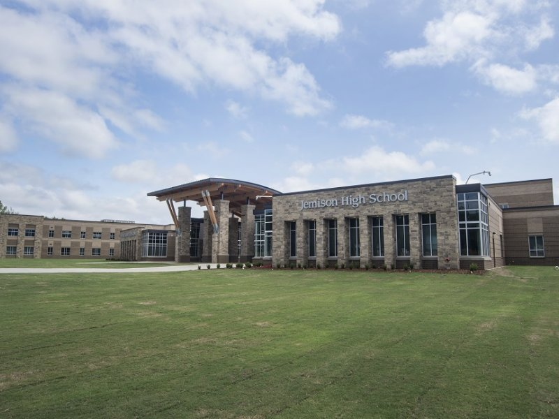 Outside picture of the new Jemison High School