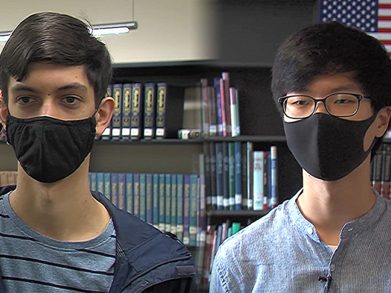 Composite image of Jeremy Hwang and Zach Barbre speaking to ETV