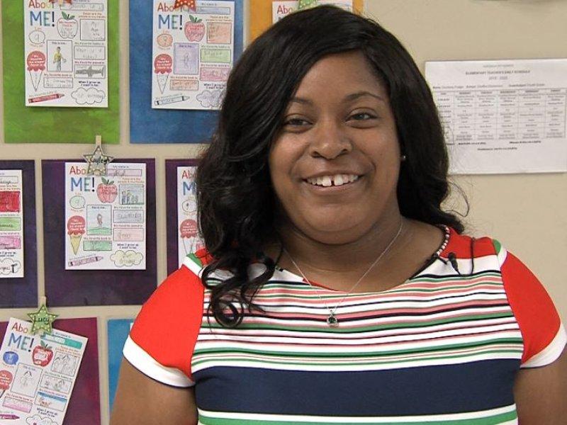 Ms Courtney Fudge being interviewed by ETV