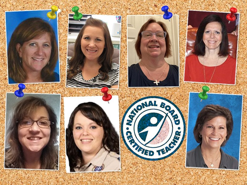Collage of seven December 2020 National Board Certified Teachers with NBCT logo
