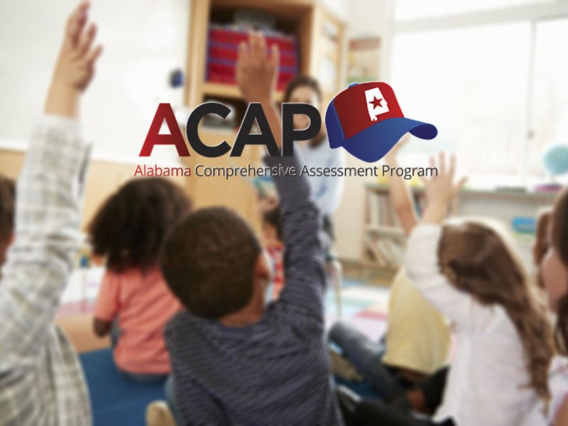 Students raising hands in a classroom, ACAP logo superimposed over image