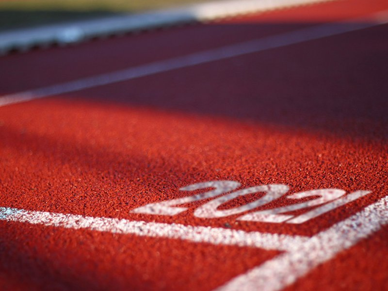 Track & Field track with 2021 painted in a lane