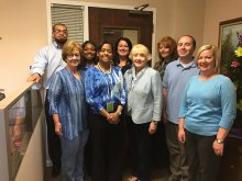 The assessment and accountability department participate in Autism Awareness day by wearing blue