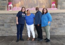 Faculty at Morris P-8 wear blue for Autism Awareness Day