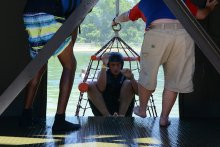 Student being pulled up in a rescue net