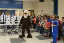 Sgt. Desiree Lancey posing as Chaffee Eagle to surprise her son Kael