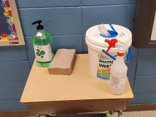 Cleaning Supplies in an Elementary Classroom