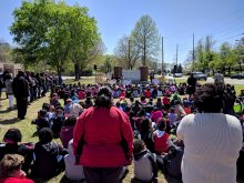 Crowd of students and faculty at MLK Elementary