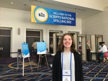 Erin Howard in the lobby at the 2019 Scripps National Spelling Bee
