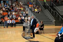 Dr. Akin Shows his Grissom Pride at Ribbon Cutting Ceremony