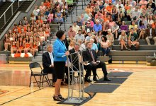Ms. Balentine Addresses the Crowd at the Ribbon Cutting Ceremony