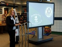 HCES Principal Spivey announces the Blue Ribbon Award to HCES students and faculty