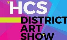 HCS District Art Show text set against colorful geometric shapes