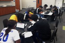 Jemison Band Seniors applying to colleges at school