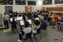 Jemison Band practicing in the bandroom