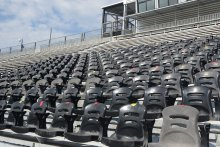 Seats at Milton Frank Stadium taped to promote social distancing