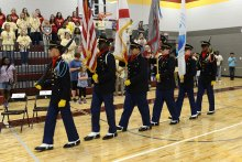 ROTC Students present the colors at the Morris P-8 Ribbon Cutting Ceremony