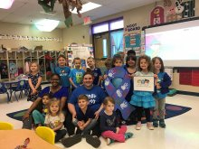 Mt. Gap students and faculty participating in Autism Awareness Day by wearing blue