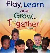 Multi-colored text saying Play, Learn, Grow with Pre-K students smiling at the bottom