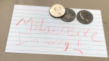 Seventy Five cents and Note for Mr. Lawrence's Wife