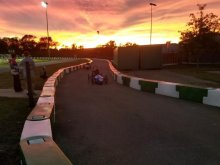 A Greenpower Car at the Whisteburg 90s race on Saturday while the sun sets in the background