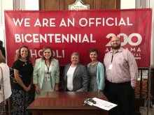 HCS Staff receive recognition for becoming a Bicentennial School