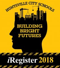 Huntsville City Schools Building Bright Futures iRegister 2018 Logo with Head & City Silhoutte