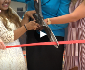 Grissom Celebrates New Building Video Icon - Cutting the ribbon